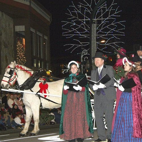 Christmas carolers in Gatlinburg Fantasy of Lights Parade