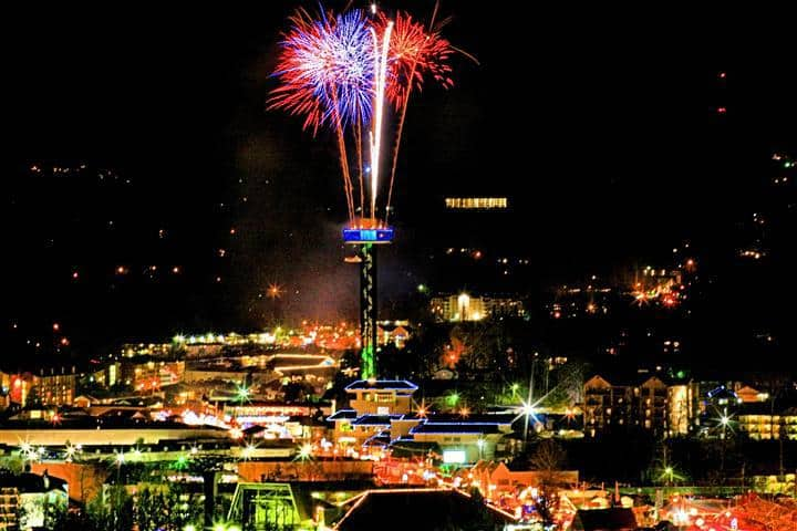 Fireworks shooting from the Gatlinburg Space Needle