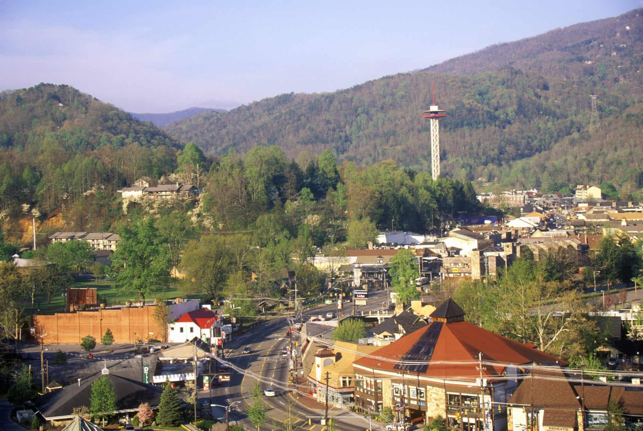 A view of downtown Gatlinburg and the Gatlinburg Space Needle