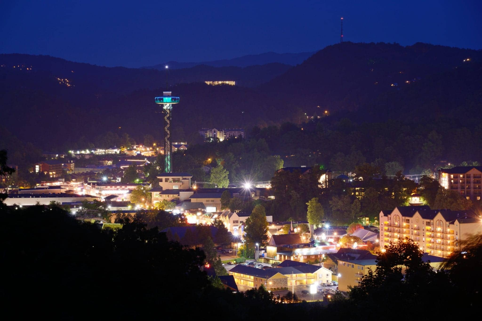 Downtown Gatlinburg skyline at night