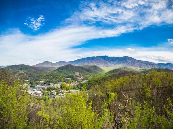 view of gatlinburg in the distance