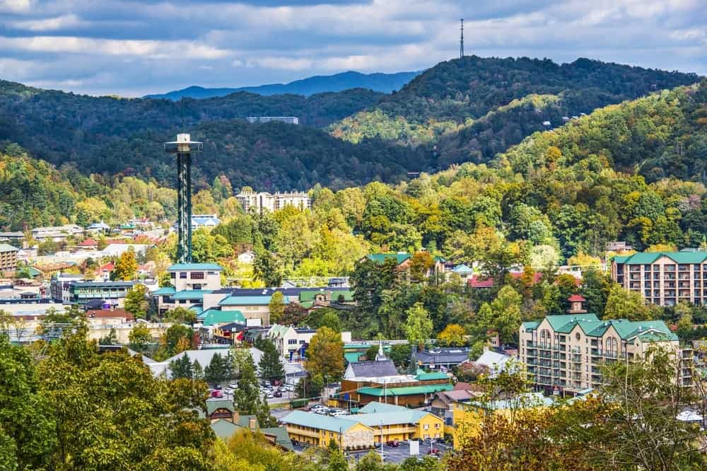 Aerial view of the Gatlinburg Parkway downtown