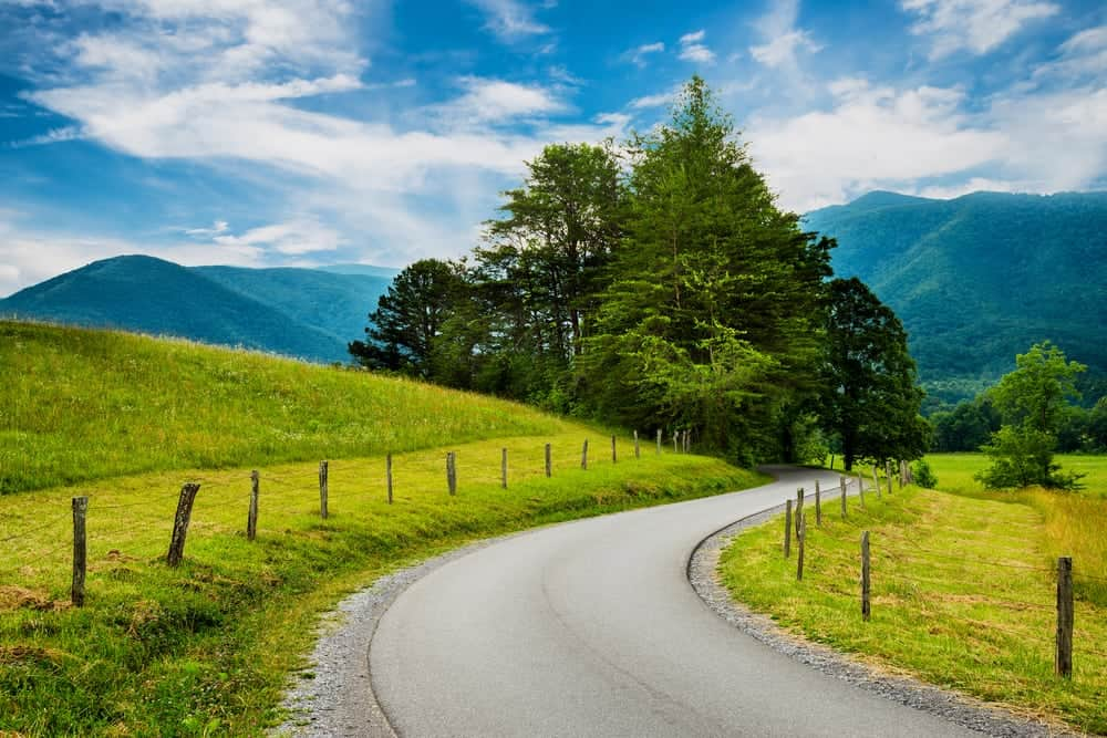 Scenic road through Cades Cove in Spring