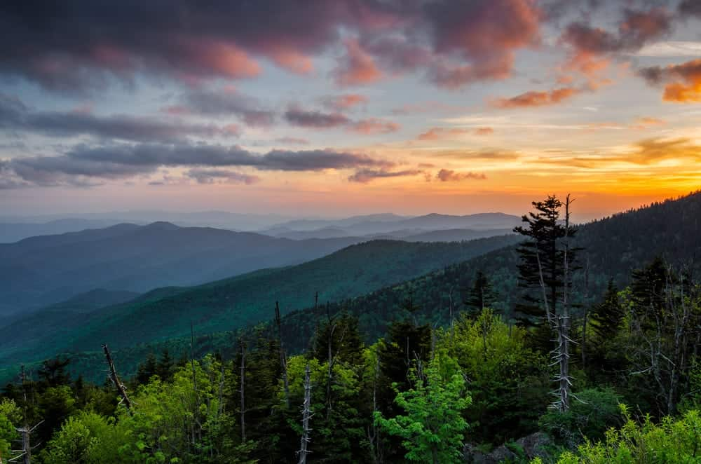 a breathtaking photo of sunset over the Great Smoky Mountains National Park