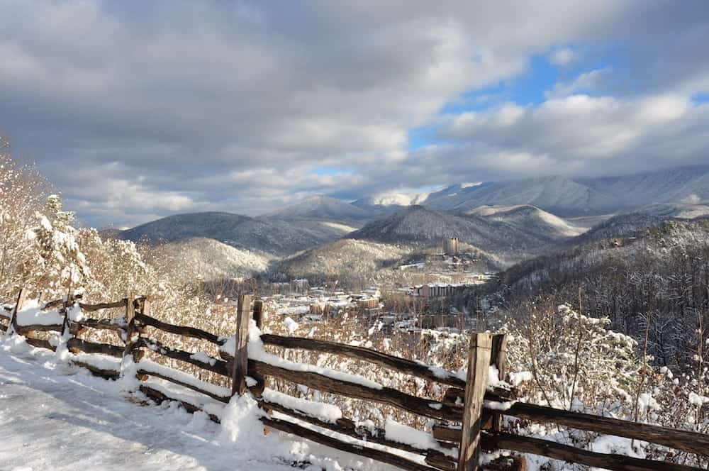 incredible photo of Gatlinburg TN in winter covered in snow