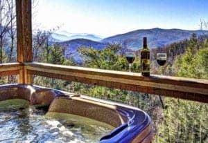 a mountain view from the hot tub on a deck of a Gatlinburg cabin