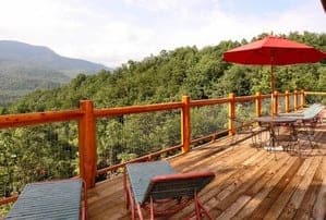 deck of a cabin in the smokies