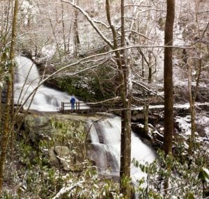 snow at laurel falls hike