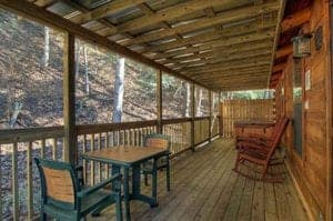 deck on silver maple cabin